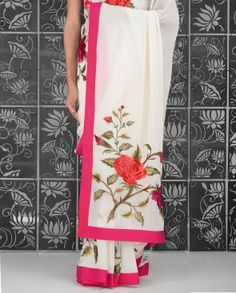 Ivory Sari with Embroidered Rose Motifs