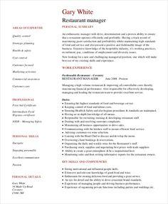 Resume Template: RESTAURANT MANAGER