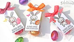 Little greeting from the Easter Bunny Creative Gift Wrapping, Creative Gifts, Stampin Up Ostern, Easter Crafts, Easter Ideas, Diy Ostern, Candy Bags, Easter Bunny, Easter Card