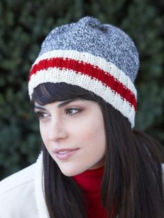 Free Pattern - The classic marl-and-stripes look makes for a cozy #knit hat with a subtle splash of color in Patons Classic Wool Worsted.