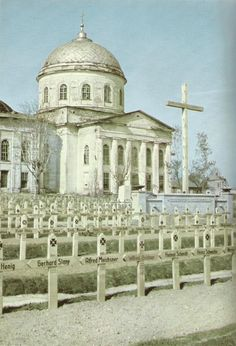 German soldiers cemetery in front of Alexander Nevsky Cathedral in Zhizdra (Жи́здра) // Spring 1943.