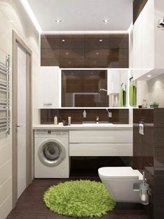Most Popular Small Bathroom Remodel Ideas on a Budget in 2018 This beautiful look was created with cool colors, and a change of layout. Laundry In Bathroom, Small Bathroom, Bathroom Modern, Master Bathrooms, Bathroom Mirrors, Bathroom Cabinets, Bathroom Fixtures, Bathroom Layout, Bathroom Colors