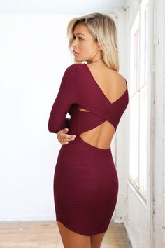 BURGUNDY CRISS CROSS CUTOUT BACK BODYCON DRESS #ustrendy www.ustrendy.com