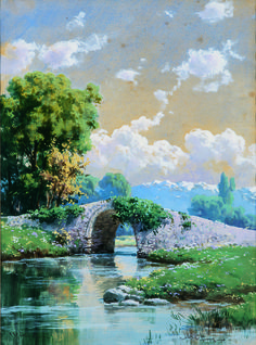 H.Ali Rıza-021 Watercolor Trees, Watercolor Landscape, Watercolor Paintings, Landscape Drawings, Landscape Art, Landscape Paintings, Beautiful Paintings Of Nature, Nature Paintings, Dream Pictures