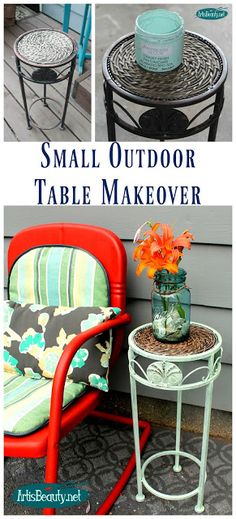 ART IS BEAUTY: Small Outdoor Table Makeover ~DIY Furniture Girls