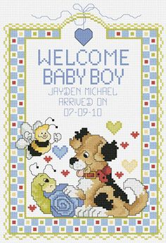 Janlynn Welcome Baby Boy - Cross Stitch Kit. Snips and snails and a cute baby boy! Each kit contains 14 -count cotton Aida fabric, 6 strand cotton floss, f Baby Cross Stitch Patterns, Cross Stitch Baby, Counted Cross Stitch Patterns, Cross Stitch Embroidery, Cross Stitching, Harry Pottertattoo, Stitch Crochet, Baby Hug, Welcome Baby Boys