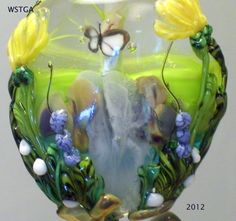 WSTGA~BUTTERFLY AND THE WATERFALL~FLORAL handmade lampwork bead focal