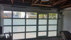 Contemporary Aluminum & Clear Tempered Glass Garage Door with Passage – Lux Garage Doors Glass Garage Door, Garage Doors, Room Divider Doors, Garage Remodel, Garage Gym, Window Wall, Wood Doors, Windows And Doors, Aluminium