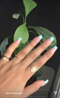 Almond Nails French, French Tip Acrylic Nails, Acrylic Nail Tips, Blue Acrylic Nails, Acrylic Nails Coffin Short, Simple Acrylic Nails, Square Acrylic Nails, French Nails, Short French Tip Nails