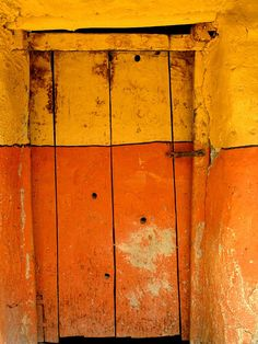 """étape lo mantang, monastère gelup,"" a photo by Ben Oït. (Orange Lemon ‿⭐️⁀Couture I think the title translates roughly to English as ""Step on Montang, Gelup Monastery. Knobs And Knockers, Door Knobs, The Doors, Windows And Doors, Entry Doors, Front Doors, Wabi Sabi, Orange Door, When One Door Closes"