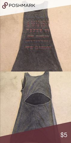"Long tank/dress Gray long tank/dress. Large key hole back. Says ""young wild & free"" bought in Australia Chic a booti Dresses Mini"