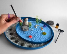 Your place to buy and sell all things handmade Miniature Zen Garden, Mini Zen Garden, Cat Lover Gifts, Cat Gifts, Home Decor Sculptures, Sculpture Art, Fairy Pots, Bamboo Stalks, Crushed Glass