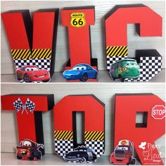 Disney Cars Party, Disney Cars Birthday, Race Car Birthday, 1st Boy Birthday, Birthday Ideas, Car Themed Parties, Cars Birthday Parties, Disney Cars Bedroom, Letter Standee