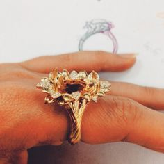 Setting the diamonds today in this KAT FLORENCE hand carved piece #gold #diamonds #byhand #katflorence