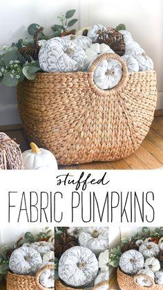 How To Make Fabric Stuffed Pumpkins - Gray White Greige Fabric Pumpkins DIY. Pumpkin Uses, Diy Pumpkin, Paper Pumpkin, Small Pumpkins, White Pumpkins, Greige Fabric, Led Diy, Fabric Pumpkins, Fall Crafts