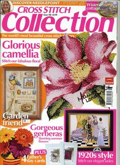 Cross Stitch Collection 158 2008 Glorious Camellias, wisteria, bird watching (nice), needlepoint, lavender