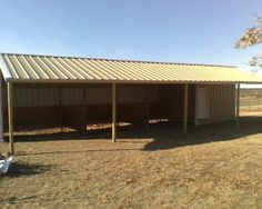 18x36 loafing shed. three 10x10 stalls, 6x10 tack room, 8x36 overhang