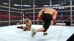 Randy Orton vs. John Cena at WWE Hell In A Cell #RKO #GIF