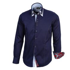 Buy now this stunning button down triple collar navy dress shirt, hand crafted stitching features adds to the slim fit look with the addition of paisley features makes this shirt a true trendsetter.