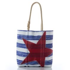 Medium Distressed Navy Stripe with Red Star Tote handcrafted from Recycled Sails. Girly Stuff, Girly Things, Summer Accessories, Fashion Accessories, Beach Bag Essentials, Navy Style, February 2016, High Standards, Navy Stripes