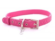 DIAMOND QUILTED LEATHER DOG COLLAR (FUCHSIA)