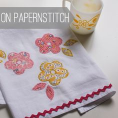 applique tea towel- this idea for letters