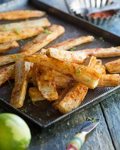 Oven-baked yuca fries with a snappy exterior, a creamy, dense interior, and a dusting of flavorful spices for a little kick. Heart Healthy Recipes, Paleo Recipes, Real Food Recipes, Cuban Recipes, Paleo Whole 30, Whole 30 Recipes, Yucca Recipe, Caveman Food, Honey