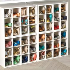 12-Pair Shoe Organiser from the Container Store - at least you won't knock over neighbouring pairs when taking one out if they're jammed together on a shelf: