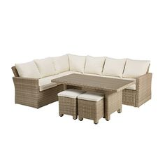 Beige wicker resin garden corner sofa and unbleached cushions |  Houses of the world