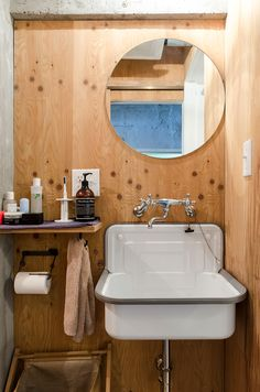 木材の風合いを活かした温かみのあるシンプルな洗面所。 in 2020 Plywood House, Modern Rustic Homes, Affordable Housing, Washroom, Bathroom Inspiration, My Room, Sink, Studios, Interior