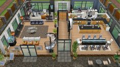 Modern design home for the Justice family - rear view main floor - in my Sims… Casas The Sims Freeplay, Sims Freeplay Houses, Sims 4 Houses, Sims 4 House Plans, New House Plans, House Floor Plans, Sims Free Play, Modern Family House, Sims House Design