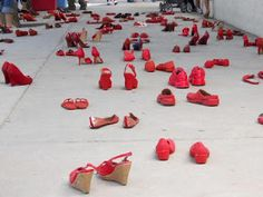 Sister Threads Farm: Red Shoe Art Display by Elina Chauvet