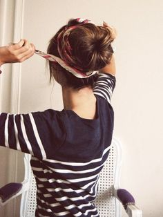 striped shirt, top knot, scarf =   http://ilovebeautifulbeaches.blogspot.com