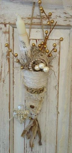 Paris Burlap and Lace Holiday ConePretty by vintagedragonfly54