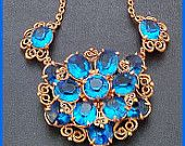 "Vintage Statement Pendant Necklace Peacock Blue Rhinestone Gold Metal 16"" VG"
