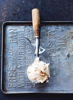 """Ice Cream Scoop Maple Pecan Ice Cream (recipe) - """"this ice cream is just crazy good. Ice Cream Desserts, Frozen Desserts, Ice Cream Recipes, Frozen Treats, Parfait, Maple Pecan, Maple Walnut, Mantecaditos, Ice Cream Maker"""
