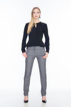 Czarna bluzka z pikowanymi wstawkami na ramionach ABK0016 www.fajne-sukienki.pl Suits, Fashion, Moda, Fashion Styles, Suit, Wedding Suits, Fashion Illustrations