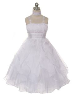 White Lovely Pleated Rhinestone Waist Ruffled Flower Girl Dress (Available in 6 Colors in Sizes 4-14)