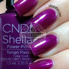 I'm trying to branch out a little into different brands, and this new collection by CND Shellac really caught my eye. I love bright, bold colors and these definitely fit that bill! Shellac Nail Colors, Shellac Manicure, Gel Polish Colors, Nail Polishes, Cnd Colours, Nail Colour, Tango, Creative Nail Designs, Toe Designs