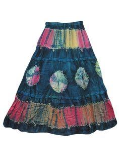 Blue Tie Dye Long Maxi Skirt Bohemian Gypsy Holiday Wear skirt #Mogulinterior #PeasantBoho $29.00