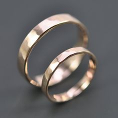 Rose Gold Wedding Band Set, 2.5mm and 4mm Rings, 14K Rose Gold, Faceted Matte, Sea Babe Jewelry