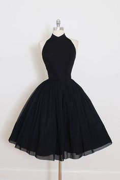 2018 A Line Black Chiffon Prom Dress,Halter Homecoming Dress Prom Dresses Prom Dresses Black, Homecoming Dress A-Line, Homecoming Dress Chiffon, Cheap Prom Dresses Prom Dresses 2020 Vintage Dresses 50s, Vintage Prom, Vintage Black, Vintage Outfits, Vintage Style, Vintage Fashion, Victorian Dresses, Wedding Vintage, Vintage Ideas