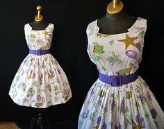 Darling 1950's / 1960's novelty print sea shell new look sun dress