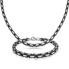 Bling Jewelry Stainless Steel Mens Two Tone Box Chain Bracelet Necklace Set Bling Jewelry. $34.99. Two tone box chain. Mens bracelet and necklace set. Stainless Steel, Black IP Plating. Bracelet 8.5in L x .2in W, Chain 22in Lx .2in W. Set weighs 62 grams