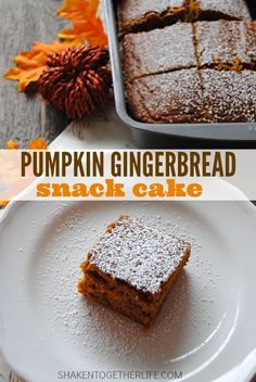 Pumpkin Gingerbread Snack Cake is our new fast family favorite! The perfect pairing of pumpkin and gingerbread is so delicious and you will not believe how EASY this recipe is to make!