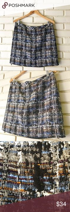 J. Crew - Tweed Textured Skirt sz 10 J. Crew - Tweed-like textured skirt - beautiful colors. Zipper in the back. Please see photo of approximate Measurements. Excellent condition! Please let me know if you have Any questions! Thanks! J. Crew Skirts