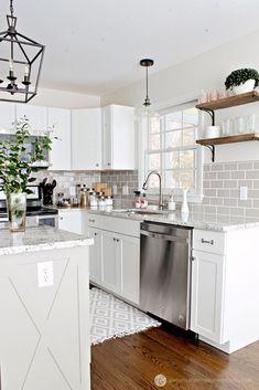 Raleigh NC Interior Designer - White Budget Kitchen Renovation Cyndi's note: granite