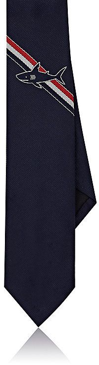 Mens Tennis-Racket Colorblocked Silk Necktie Thom Browne EqblG