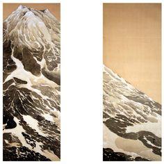 Kobayakawa Shusei Pair of Scroll Paintings of Mount Fuji in Snow (via @1stdibs)