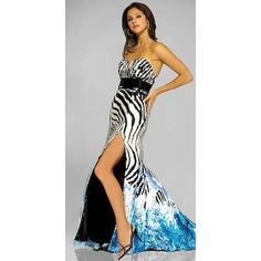 Zebra Strip Blue Short Prom Dresses
